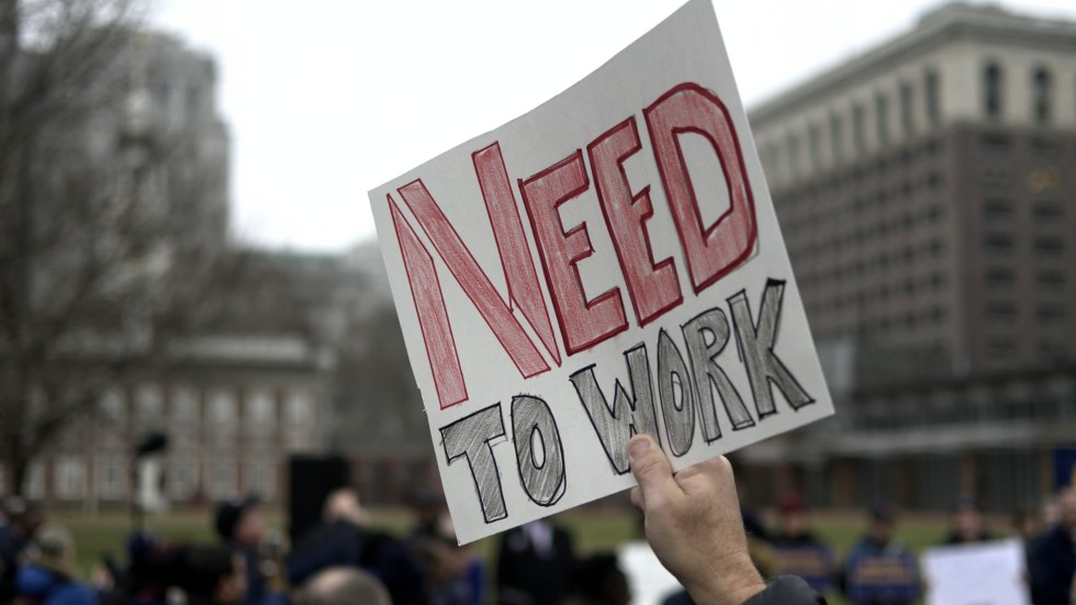 Furloughed federal workers protest the ongoing, partial shutdown of the federal government during a non-partisan rally Tuesday at Independence Mall, in Philadelphia.