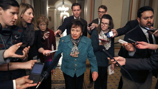 Rep. Nita Lowey, D-N.Y., walks to a bipartisan negotiation meeting Monday over securing the U.S. Southern border and keeping the U.S. government from shutting down.