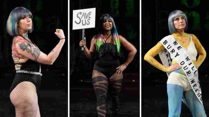 (Vlnr) Genevieve Billingsley, Sheila McGlown und Dikla Benzeevi, alle Modelle mit metastasiertem Brustkrebs, gingen am 10. Februar in New York, New York, in eine Show für die Fashion Week.