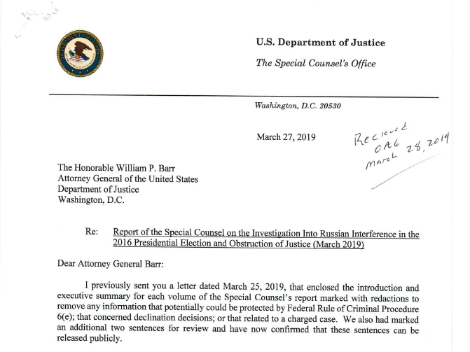 Read Mueller S Letter Expressing Concern About Barr S