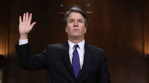 Judge Brett Kavanaugh is sworn in before testifying to the Senate Judiciary Committee during his Supreme Court confirmation hearing on Sept. 27, 2018.
