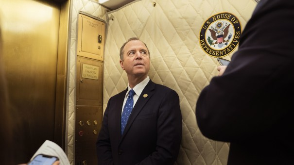 House Intelligence Committee Chairman Adam Schiff, D-Calif., heads to a news conference on Tuesday.