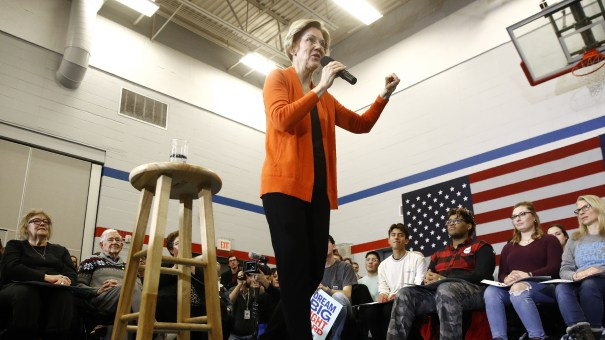 Democratic presidential candidate Sen. Elizabeth Warren, D-Mass., speaks during a campaign event in Marshalltown, Iowa, on Sunday.
