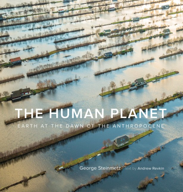 The cover of The Human Planet shows the impact of harvesting thick layers of peat, to burn as fuel, in sparsely forested parts of the Netherlands. Because peat takes thousands of years to form, the harvesting leaves behind sunken, water-filled areas crossed by strips of land.