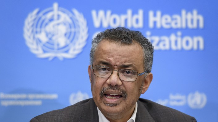 World Health Organization (WHO) Director-General Tedros Adhanom Ghebreyesus speaks during a press conference on January 30, 2020, in Geneva.