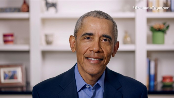 """With live ceremonies canceled across the U.S., former President Barack Obama gives graduating seniors a virtual commencement address during """"Graduate Together: America Honors the High School Class of 2020"""" on Saturday."""