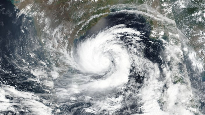 Amphan, seen in a satellite image captured Sunday, is moving over the Bay of Bengal and is expected to make landfall near the border of India and Bangladesh this week.