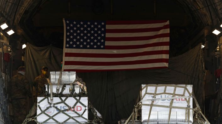 A shipment of medical aid from the United States, including 50 ventilators, is seen inside a U.S. Air Force C-17 Globemaster transport plane at Vnukovo International Airport outside Moscow on Thursday.
