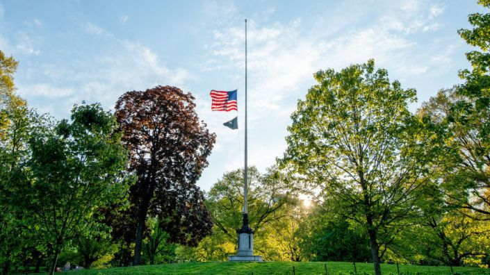 U.S. flags will fly at half-staff on federal and military posts through Sunday, as President Trump orders a remembrance of the nearly 100,000 people who have died from COVID-19 in the U.S. Earlier this month, flags in the hard-hit state of New York flew at half their normal height to honor of those lost to the pandemic.