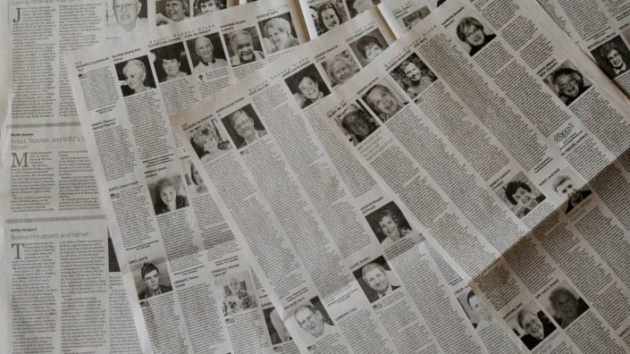 The April 19 edition of The Boston Globe had 16 pages of obituaries.