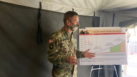 Gen. Jim McConville, the Army chief of staff, visiting Fort Irwin in California