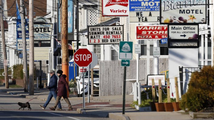 A row of closed motels is seen on April 29 in Old Orchard Beach, Maine, during measures to stem the coronavirus spread.