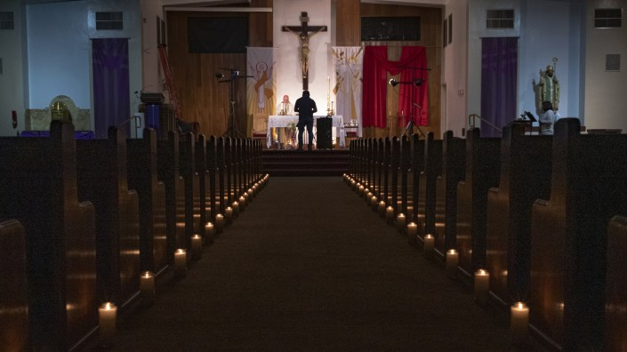 A church in North Hollywood, Calif., stands empty last month after services were canceled due to coronavirus restrictions.