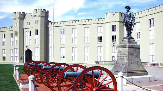 "The statue of Confederate Gen. Thomas ""Stonewall"" Jackson in front of the barracks at Virginia Military Institute in an archival photo. VMI began removing the statue Monday."