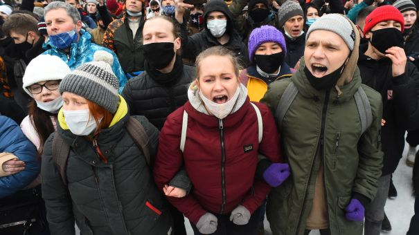 People attend a rally in support of jailed opposition leader Alexei Navalny in Saint Petersburg on Saturday.