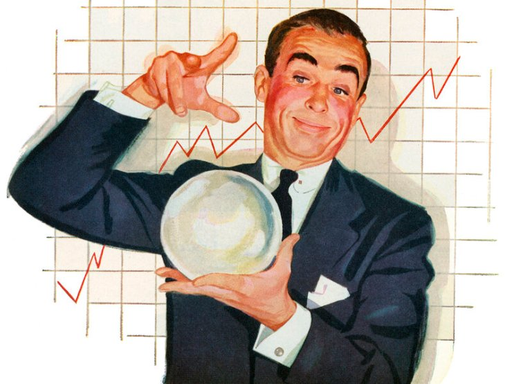 Vintage illustration of a 1950s businessman with a crystal ball, telling the fortune of his company's profits, 1953. (Illustration by GraphicaArtis/Getty Images)
