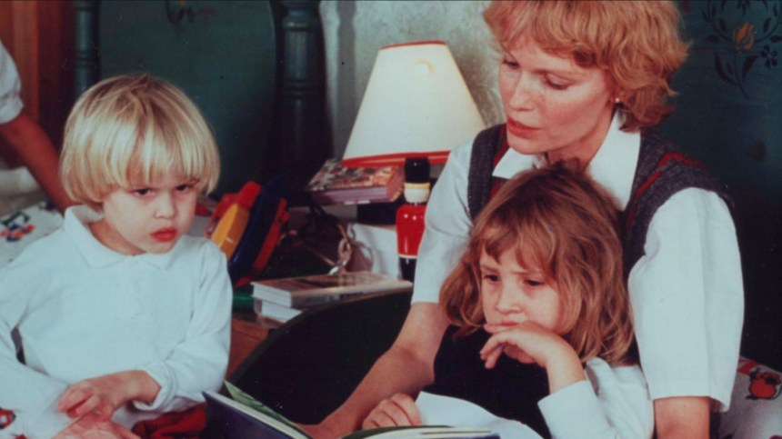 Mia Farrow with her children Ronan (left) and Dylan.