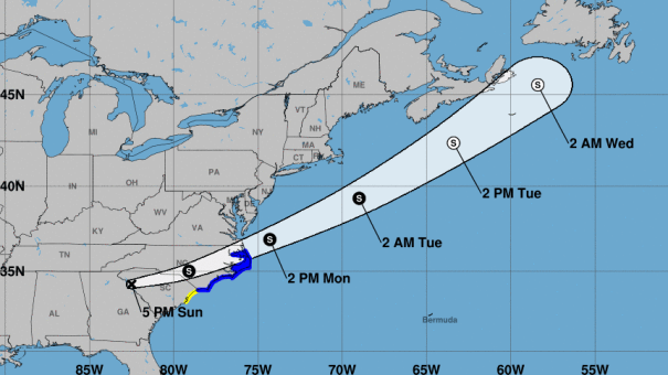 A cone shows the probable path of the storm center. Tropical Depression Claudette is expected to regain strength and become a tropical storm again.