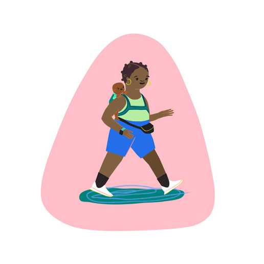 An illustration of a new mom wearing her infant on her back as she takes an active walk.
