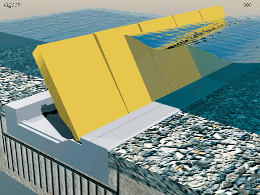 Artist's rendering of how the mobile barriers work. Graziano Arici/New Venice Consortium/AP