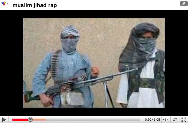 Screen grab of a jihadi rap video from YouTube