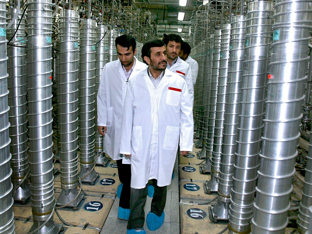Iranian President Mahmoud Ahmadinejad  at the Natanz Uranium Enrichment Facility in 2008