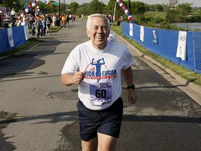 Sen. Lugar runs in the Capital Challenge 5k race in 2008