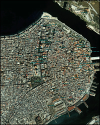 A satellite view of Havana.