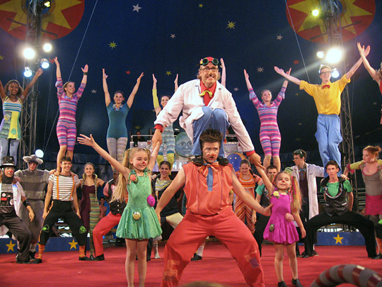 Pyramid of circus performers