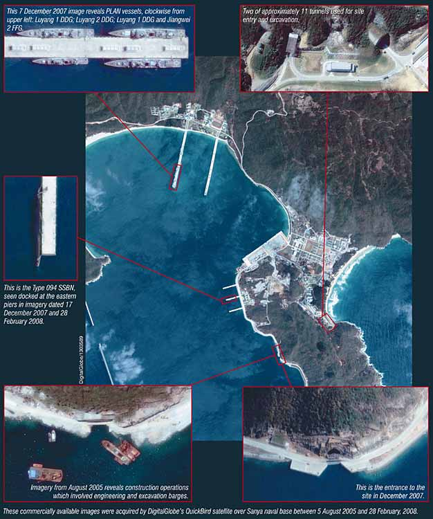 Recent satellite imagery shows what appears to be a nuclear ballistic missile submarine off China