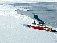 A U.S. Coast Guard ship on an ice sheet.