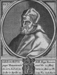 Pope Gregory, who ordered new calendars, better to calculate religious feast days, like Easter. The Gregorian Calendar was introduced about 1583, with leap years. The actual time between two yearly solar events isn't 365 days exactly. It's actually 365.2422 days — so every four years there's approximately one extra day left over.  (NPR image and information)