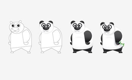 Thiết kế nhân vật gấu trúc sử dụng Illustrator