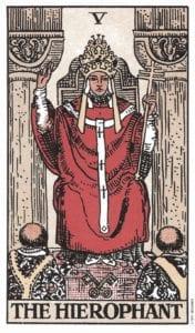 Hierophant Tarot Birth Card from the Rider-Waite Tarot Deck