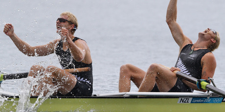 Hamish Bond and Eric Murray react after earning New Zealand its second Olympic gold medal. Source /Brett Phibbs NZ Herald