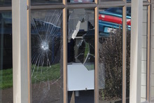 A Winz office window was smashed. Photo / APN