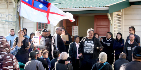 Protests over Kiri Campbell's court case shut down the Hawera District Court today. Photo / Bevan Conley