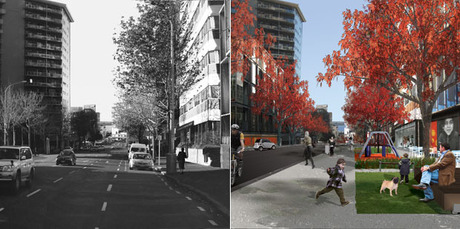 The development of the major arterial routes of Hobson (above) and Nelson Sts needs to have the look and feel of dignified urban streets that encourage pedestrians.