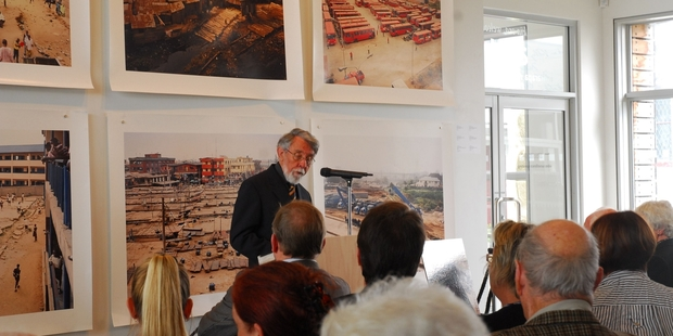FIVE YEARS' WORK: Barrie Allom told the crowd at the launch of his book, Dear Tyrant, at Aratoi, that they should value their heritage. PHOTO/VOMLE SPRINGFORD.