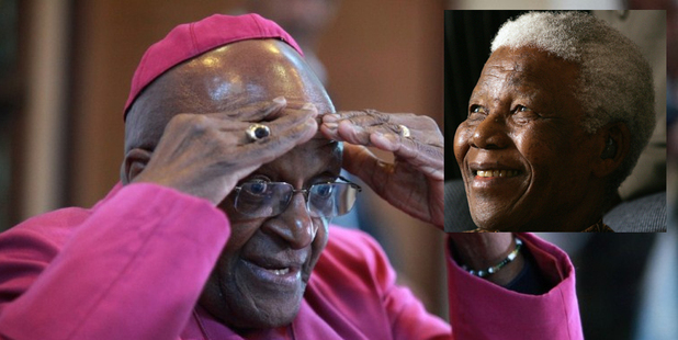 Desmond Tutu and, inset, Nelson Mandela. Photos / AFP / AP