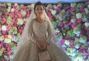 The bride wore an elaborate wedding gown created by the Lebanese designer Elie Saab. Photo / Instagram