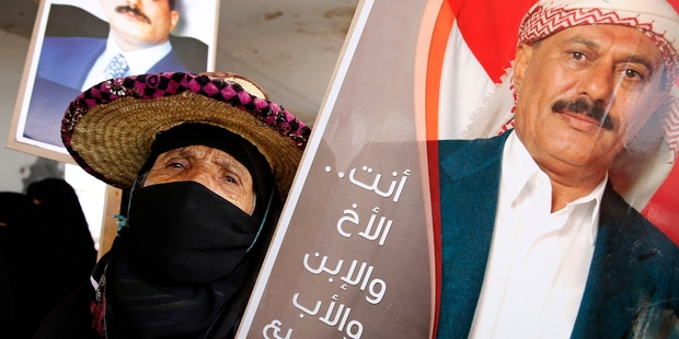 Supporters of Shia-allied former president Ali Abdullah Saleh mark the first anniversary of the Saudi-led incursion. Photo / AP