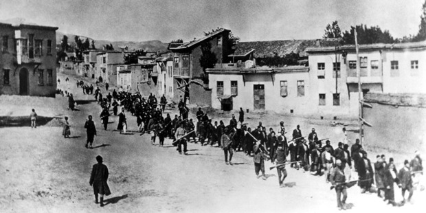 Armenian residents being deported from the city of Harput, 1915. Photo / Supplied