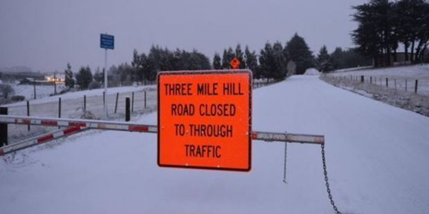 Three Mile Hill road is closed today. Photo / Stephen Jaquiery