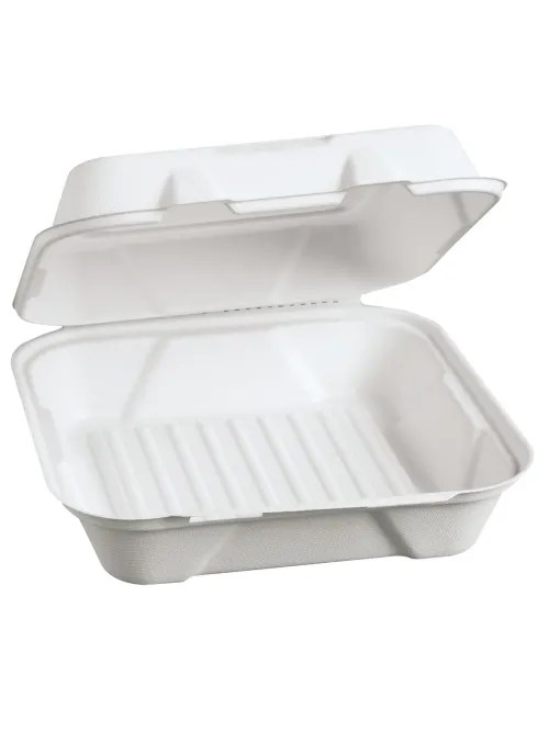 genpak harvest fiber hinged food containers 9 h x 9 w x 3 d white 100 containers per pack carton of 2 packs item 3110686