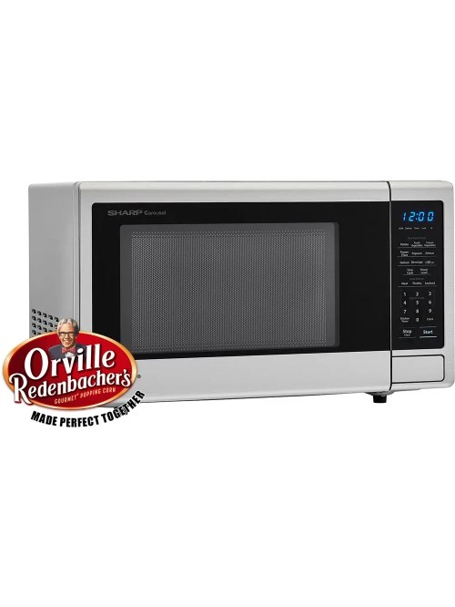 sharp carousel 1 1 cu ft countertop microwave oven with orville redenbacher s popcorn preset stainless item 323501