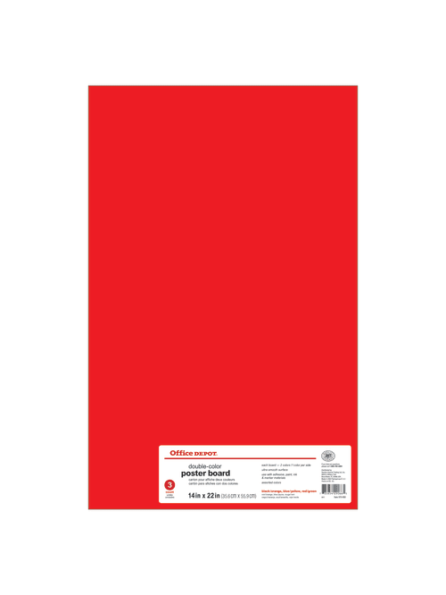office depot brand dual color poster board 14 x 22 black orange blue yellow red green pack of 3 item 515950