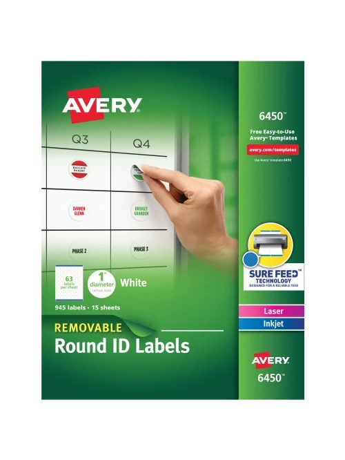 Avery 6450 Template : avery, template, Avery, Removable, Round, Labels, Office, Depot
