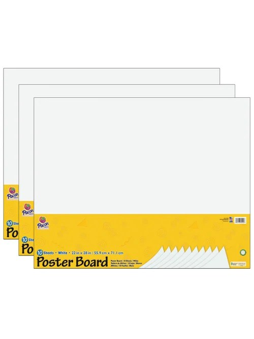 pacon ucreate poster board 22 x 28 white 10 sheets per pack case of 3 packs item 6996017