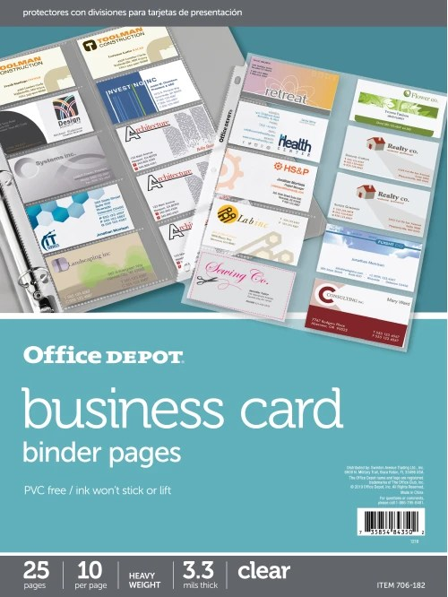 Office Depot Same Day Business Cards : office, depot, business, cards, Office, Depot, Brand, Business, Binder, Pages, Clear